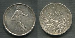 5 F SEMEUSE ARGENT 1968 SUPERBE !!! - J. 5 Francs