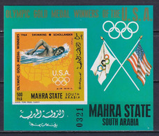 ADEN MAHRA 1968, Mi# Bl 13 B, CV €70, Imperf, Sport, Olympics, MNH - Autres