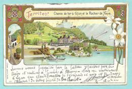 TERRITET, Chemin De Fer à Glion Et Le Rocher De Nay - Carte Précurseur, Voyagée1904 - - VD Vaud