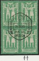 ARGENTINIEN 1947 Jugendkreuzzug Für Den Weltfrieden 5C Kab.-Viererblock O ABART - Oblitérés