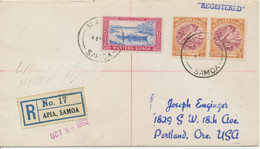SAMOA 1952 VF R-Cover Mixed Postage ½D Making Siapo (2x) + 6D Fisherboat USA - Samoa (Staat)