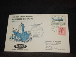 Belgium 1957 Sabena Bruxelles-Belgrade Cover__(1772) - Cartas