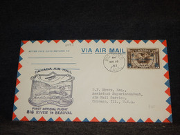 Canada 1933 Big River Beauval Air Mail Cover__(2093) - Aéreo