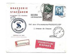 Sterstempel / Cachet Etoile  *  STASEGEM *  Recom/Expres 1958 Boudewijn/Marchand/Poortman  BRASSERIE 2 Scans - Cartas