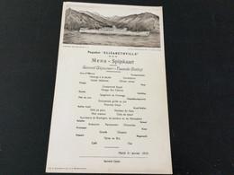 Menu Proposé Sur Le Paquebot «Elisabeth Ville» Le Mardi 31/01/1939 - Menus