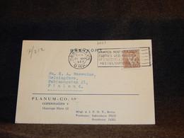 Denmark 1937 Köbenhavn Slogan Cancellation Card To Finland__(2659) - Briefe U. Dokumente