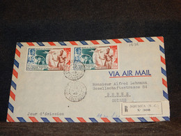 French Oceania 1949 Noumea Registered Air Mail Cover To Switzerland__(1636) - Storia Postale