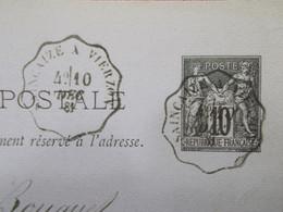Marcophilie Entier Postal Convoyeur SAINCAIZE A VIERZON 1881 (2723) - 1877-1920: Periodo Semi Moderno