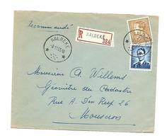 Sterstempel / Cachet Etoile  * AALBEKE *  Recom. AALBEKE  1955 Boudewijn/Marchand 4 Fr + Poortman 3 Fr. - Cartas