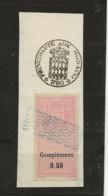 TIMBRES FISCAUX DE MONACO DIMENSIONS OBLIRERE Sur Fragment Papier Timbre à 1F50 N°11 50 C Rose - Fiscaux
