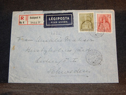 Hungary 1943 Budapest 4 Registered Air Mail Cover To Sweden__(2967) - Cartas