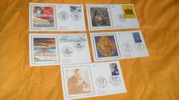 LOT 5 ENVELOPPES FDC DE 1995../ LOUIS PASTEUR, LE NOTARIAT EUROPEEN, MALTERIE DE STENAY MEUSE, LE PONT DE NORMANDIE, LA - 1990-1999