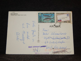 Maldives 1980's Air Mail Card To Germany__(1188) - Maldivas (1965-...)