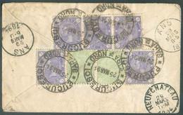 N°91(5)-92(2) -CHARLES Ier3b. Violet (bande De 3 + 2ex.) Et 5b. Vert (paire) Obl. ScBUCURESCI GARA DU NORDau Verso D - Briefe U. Dokumente