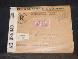 Sweden 1918 Linköping Censored Registered Cover To Balboa__(2536) - Briefe U. Dokumente