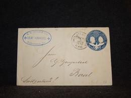USA 1893 1c Blue Stationery Envelope To Switzerland__(16) - ...-1900
