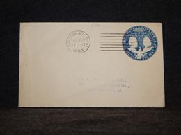 USA 1893 Cincinnati One Cent Blue Stationery Envelope__(572) - ...-1900
