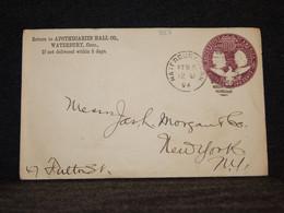 USA 1894 Waterbury 2c Violet Stationery Envelope__(567) - ...-1900