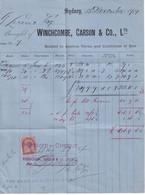 AUSTRALIA / NEW SOUTH WALES - 1901 - FISCAL Sur FACTURE De SYDNEY - Briefe U. Dokumente