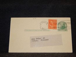 USA 1951 New York 1c Green Stationery Card To Finland__(4113) - 1941-60