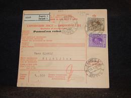 Yugoslavia 1928 Zagreb Parcel Card__(2814) - Briefe U. Dokumente