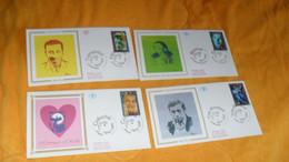 LOT 4 ENVELOPPES FDC DE 1994../ CACHETS YVES MONTAND, BOURVIL, COLUCHE, FERNANDEL...+ TIMBRE - 1990-1999