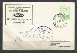 BRUXELLES-DJEDDA 5-9-1967 - Sabena - Timbres Belgique Baudouin Lunettes Type Marchand - Airplanes
