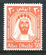 Abu Dhabi 1964 Sheikh Shakhbut Bin Sultan - 30np Red-orange HM (SG 4) - Abu Dhabi