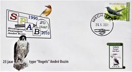 """Kleine FDC SPAB """"Koekoek"""" Met Stempel Mechelen 25-01-2021 & Kleine FDC SPAB Met Stempel 1ste Dag Brussel 25-01-2021 - 1985-.. Birds (Buzin)"""