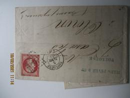 Timbre 80 C Rouge Empire Franc Napoleon 3  Non Dentele Sur Lettre Petit Chiffre Toiulouse Pour Oloron - 1849-1876: Klassik