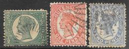 Queensland  1895 Sc# 103-5  1/2p, 1p, 2p  Wmk 68  Used  2016 Scott Value $4.10 - Gebraucht