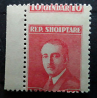ALBANIA / Albanie / Shqiperia  , 1925, Ahmed Zogou , Yvert 169, 10 Q Rouge VARIETE  PIQUAGE A CHEVAL, Neuf MNH  **  TTB - Albania