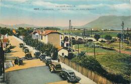 CPA 64 Pyrénées Atlantiques Hendaye Les Trois Ponts Au Fond L'Espagne - La Côte Basque - Hendaye