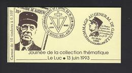 CARNET PRIVE MARIANNE DE BRIAT JOURNEE THEMATIQUE LE LUC HOMMAGE GENERAL DE GAULLE - Autres