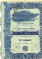 RARE SOCIETE DES MINES ET FONDERIES DE L ARIEGE ET DE LA HAUTE GARONNE PARIS  TOUS COUPONS B.E. - Mineral