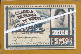 Bilhete 2º Semestre 1935 Cª Carris De Ferro Da Cidade Do Porto. Ticket Carris Railway In City Porto. Carris-spoorweg - Europa