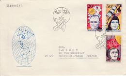 TCHECOSLOVAQUIE 1977 LETRES FDC EXPO DU COSMOS POUR LA FRANCE - Cartas