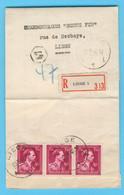 Belgique N° 691 X3Recommandé LIEGE 23-5-1946 - Sin Clasificación