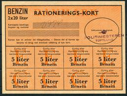 WW2 Denmark Benzin Rationerings-Kort / Petrol Ration Card + 3 Coupons. Politimesteren Toftlund - Briefe U. Dokumente