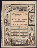 FRANCE: Guadeloupe, RARE Billet De Loterie Coloniale Datant De 1883, De 1F Avec Illustrations - Billetes De Lotería