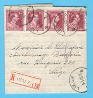 Belgique N° 832 X4 Recommandé LIEGE9-1-1953 - Sin Clasificación
