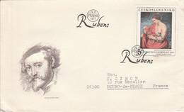 TCHECOSLOVAQUIE 1977 LETRE FDC PEINTURE DE RUBENS POUR LA FRANCE - Cartas