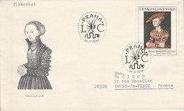TCHECOSLOVAQUIE 1977 LETRE FDC PEINTURE DE LUCAS CRANACH  POUR LA FRANCE - Covers & Documents
