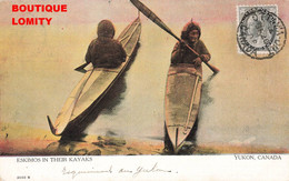 Canada Yukon Eskimos In Their Kayaks Esquimaux Kayak Cpa Carte Ancienne  + Timbre Cachet 1906 , Inuit Inuits - Yukon