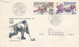 TCHECOSLOVAQUIE 1978 LETTRE FDC HOCKEY SUR GLACE POUR LA FRANCE - Cartas