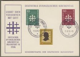 """Bund: Sonderkarte Mit Mi.-Nr. 234-36 SST: """" Deutscher Evangelischer Kirchentag Frankfurt A. M. 1956 """" !      X - Storia Postale"""