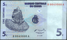 ♛ CONGO DEMOCRATIC REPUBLIC - 5 Centimes 01.11.1997 {# B0043000A} AU P.81 - Democratic Republic Of The Congo & Zaire