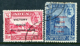 Aden - State Of Seiyun 1946 Victory Set Used (SG 12-13) - Aden (1854-1963)