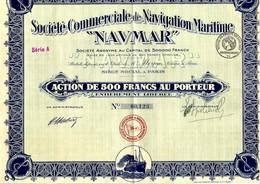 SUPERBE SOCIETE COMMERCIALE DE NAVIGATION MARITIME NAVMAR Paris 28 COUPONS PRESNETS B.E. V.SCAN - Mineral