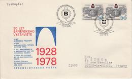 TCHECOSLOVAQUIE 1978 LETTRE FDC FOIRE MECANIQUE DE BRNO POUR LA FRANCE - Cartas